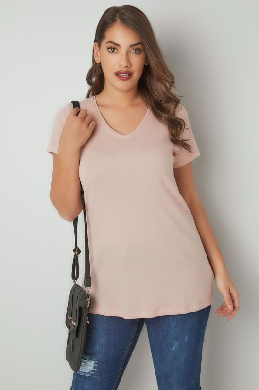 Light Pink Short Sleeved V-Neck Basic T-Shirt