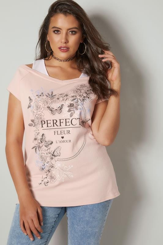 Plus Size Day Tops Light Pink Slogan Print 2-in-1 Cold Shoulder Top