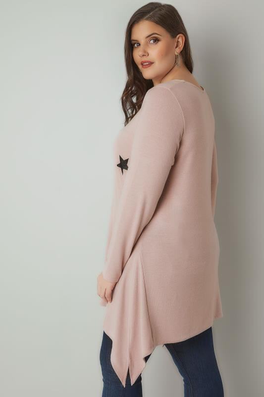 Pink Star Print Longline Knitted Top With Hanky Hem