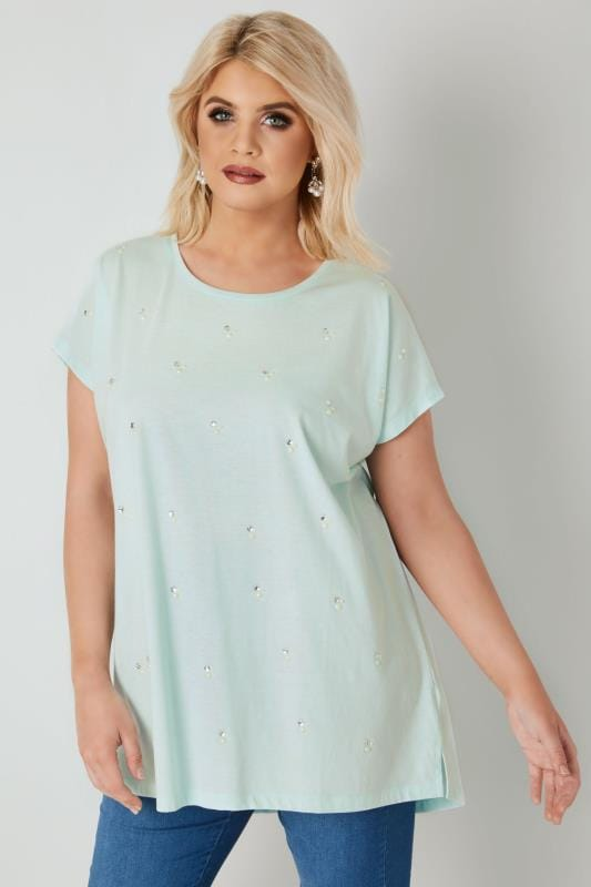 Plus Size T-Shirts Light Turquoise Pearlescent & Diamante Embellished T-Shirt