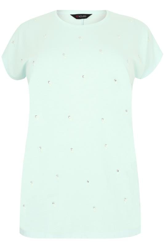 Light Turquoise Pearlescent & Diamante Embellished T-Shirt