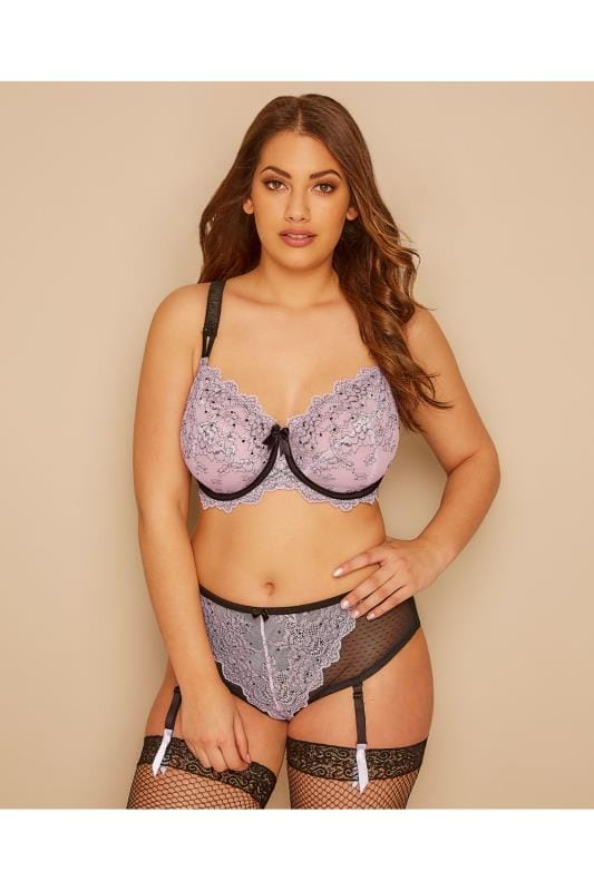Lilac & Black Floral Pencil Lace Underwired Bra With Non-Padded Cups