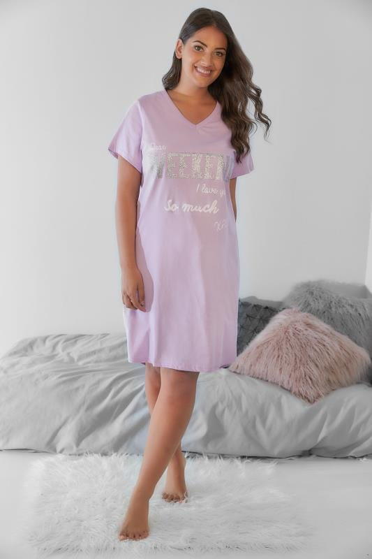 Lilac Glittery 'Weekend I Love You' Nightdress