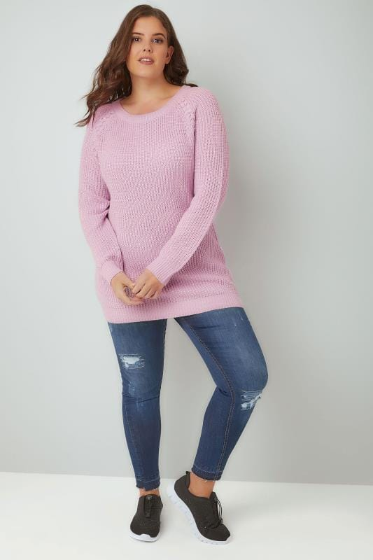 Lilac Purple Knitted Raglan Jumper