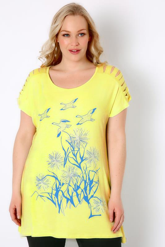 Lime Green Bird Print Top With Shredded Shoulder Detail