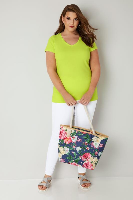 Lime Green Short Sleeved V-Neck Basic T-Shirt