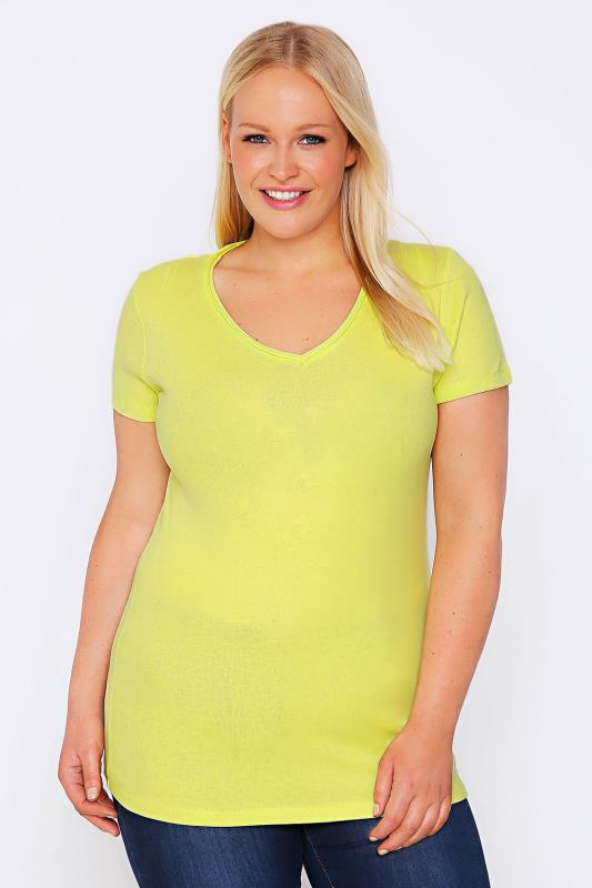 Lime Short Sleeved V-Neck Basic T-Shirt