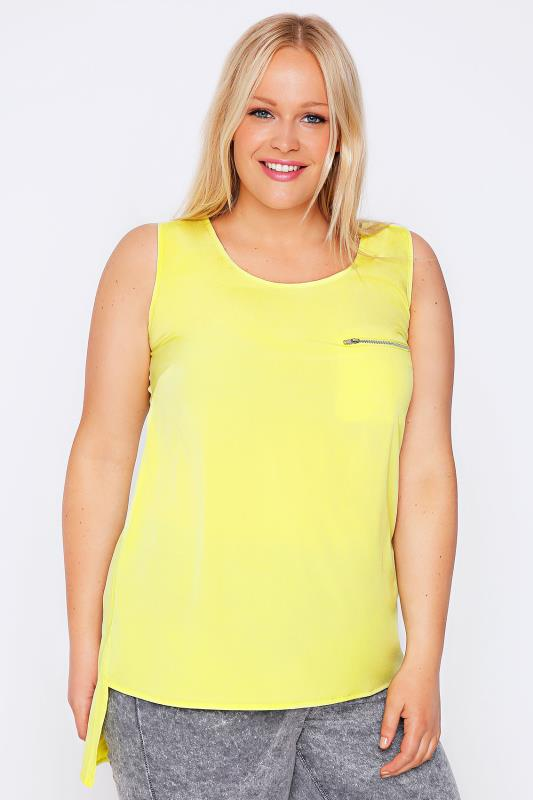 Lime Sleeveless Dipped Hem Top With Zip Pocket Detail