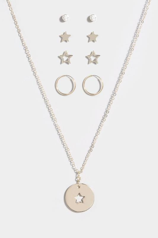 MULTIPACK Gold Star Earrings & Necklace Set
