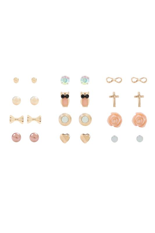 12 PACK Multi & Pastel Assorted Stud Earrings