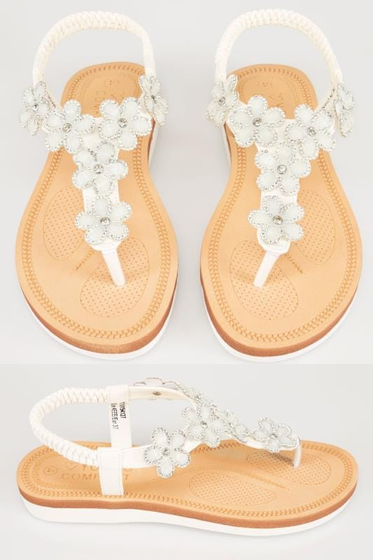 White Open Toe Sandals With Embellished Floral Straps In TRUE EEE Fit