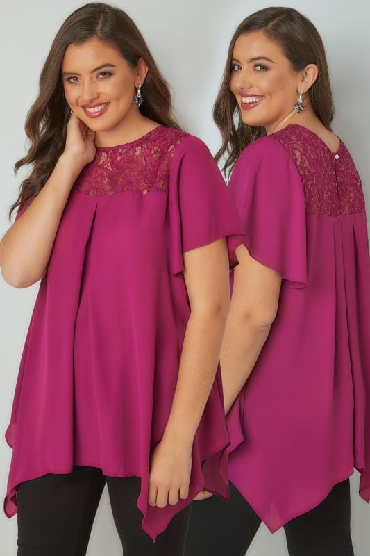Blouses & Shirts Magenta Pink Blouse With Lace Sequin Yoke 130193