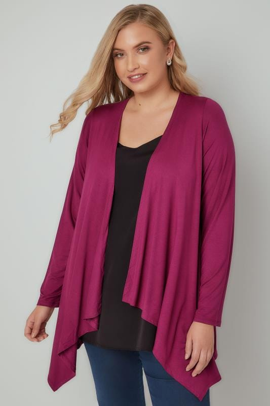 Magenta Pink Edge To Edge Waterfall Jersey Cardigan