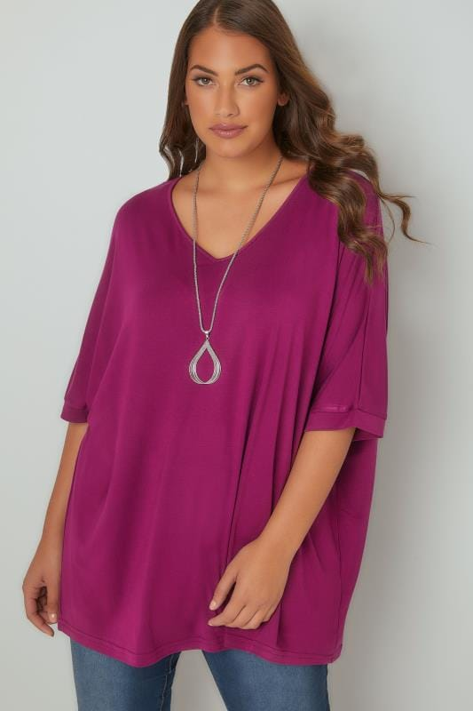 Jersey Tops Magenta Pink Jersey Top With Free Necklace 134203