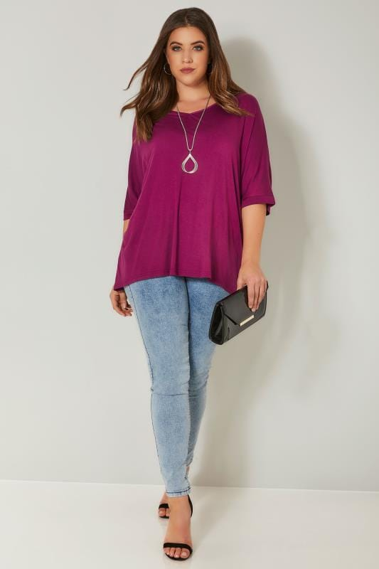 Magenta Pink Jersey Top With Free Necklace