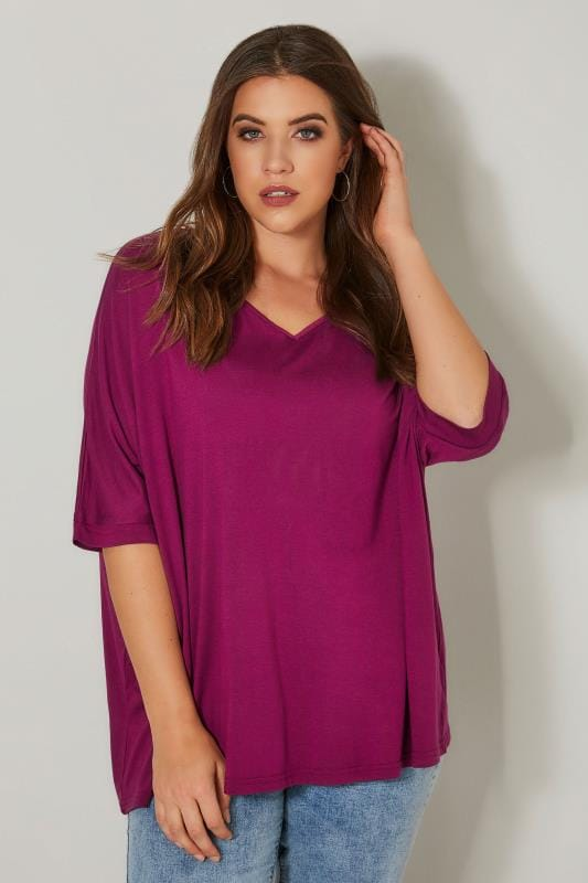Plus Size Jersey Tops Magenta Pink Jersey Top