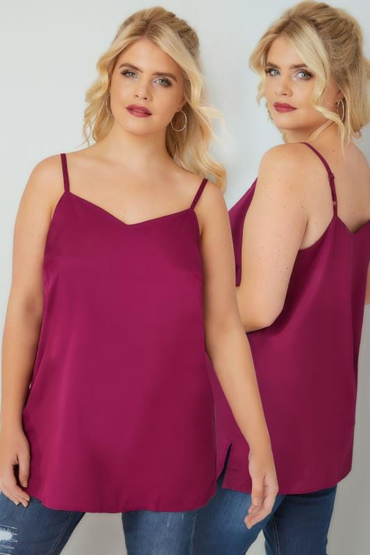 Vests & Camis Magenta Pink Woven Cami Top With Side Splits 130149
