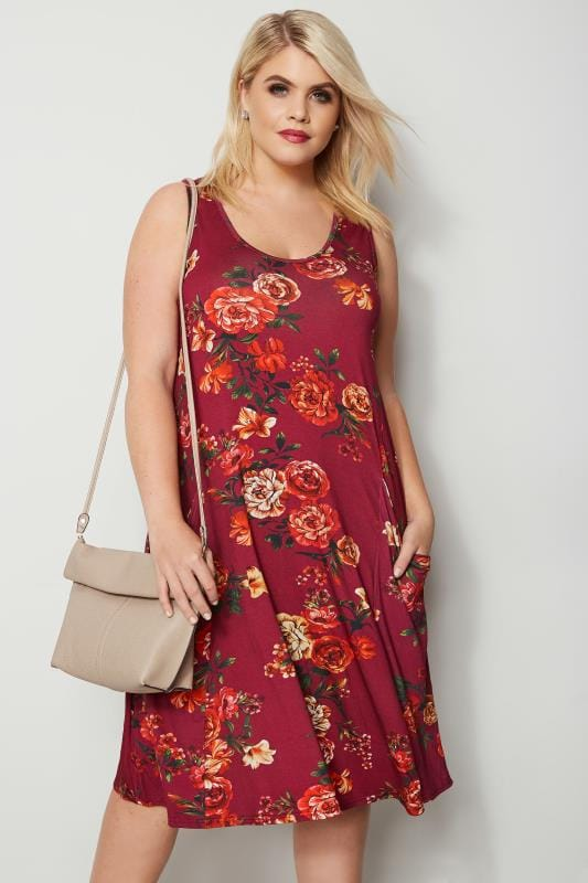 Maroon Floral Drape Pocket Dress