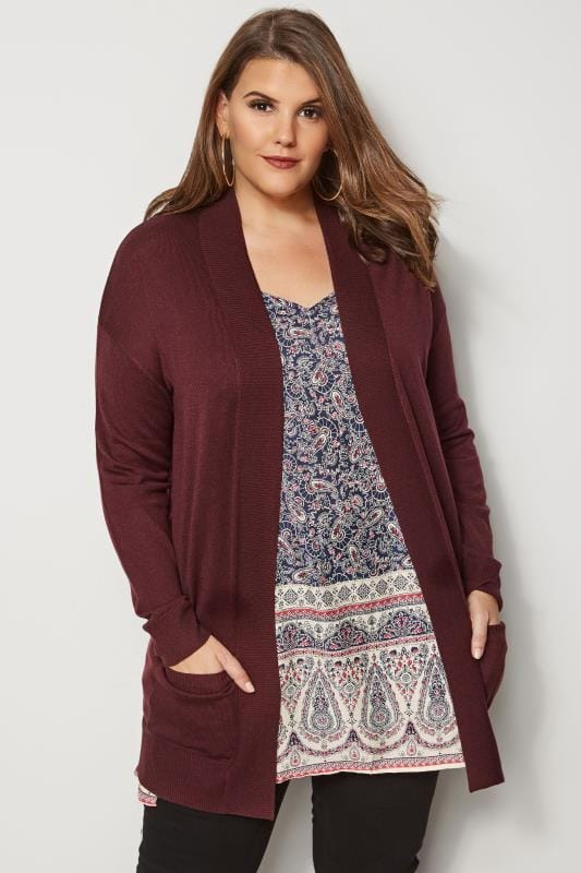 Plus Size Cardigans Merlot Red Fine Knit Edge To Edge Cardigan