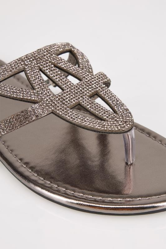 Metallic Diamante Sandals In EEE Fit