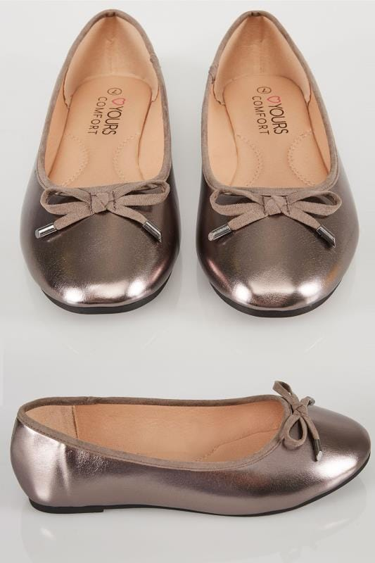 Wide Fit Flat Shoes Metallic Pewter Ballerina Pumps In TRUE EEE Fit