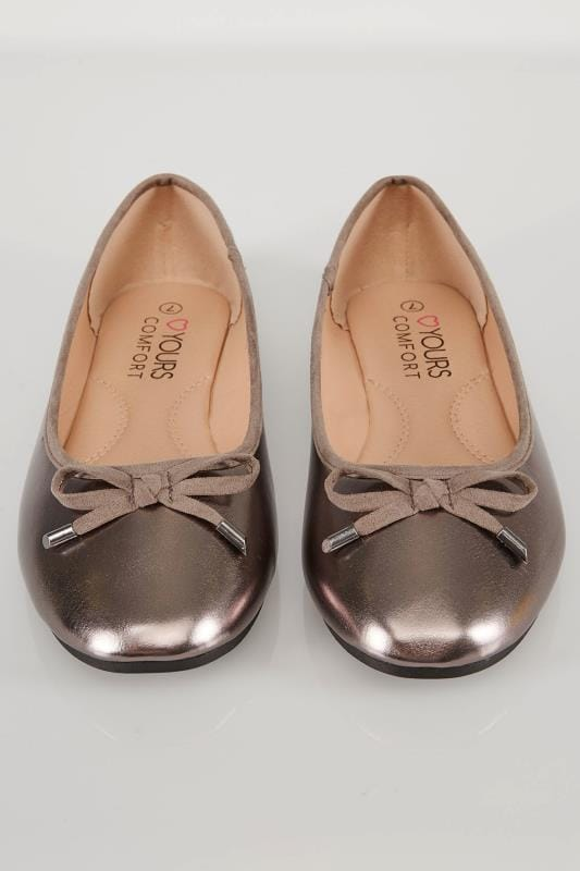 Metallic Pewter Ballerina Pumps In TRUE EEE Fit