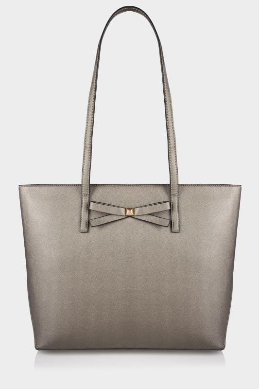 Metallic Pewter Bow Trim Shopper Bag