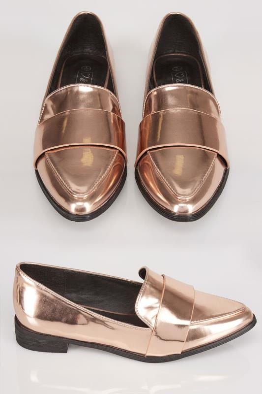 Wide Fit Flat Shoes Metallic Rose Gold COMFORT INSOLE Pointed Toe Loafers In E Fit 057438