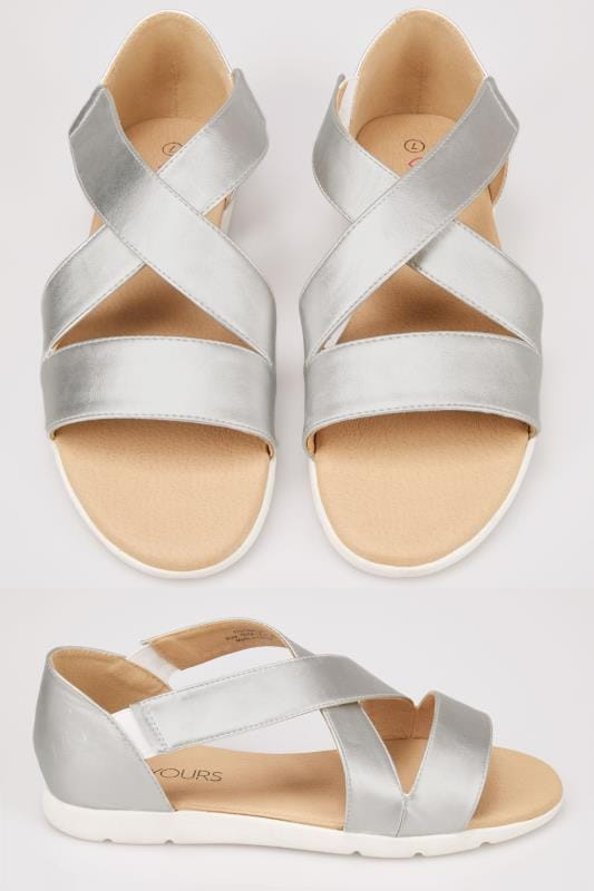 Wide Fit Sandals Metallic Silver Cross Over Strap Sandals In True EEE Fit