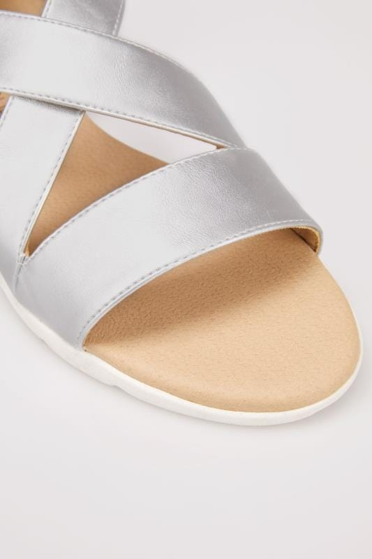 Metallic Silver Cross Over Strap Sandals In True EEE Fit