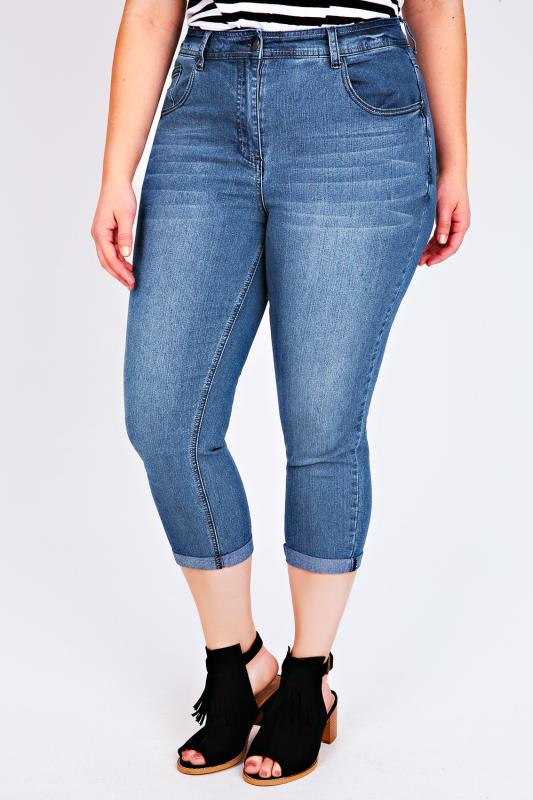 Mid Blue Denim 5 Pocket Stretch Crops