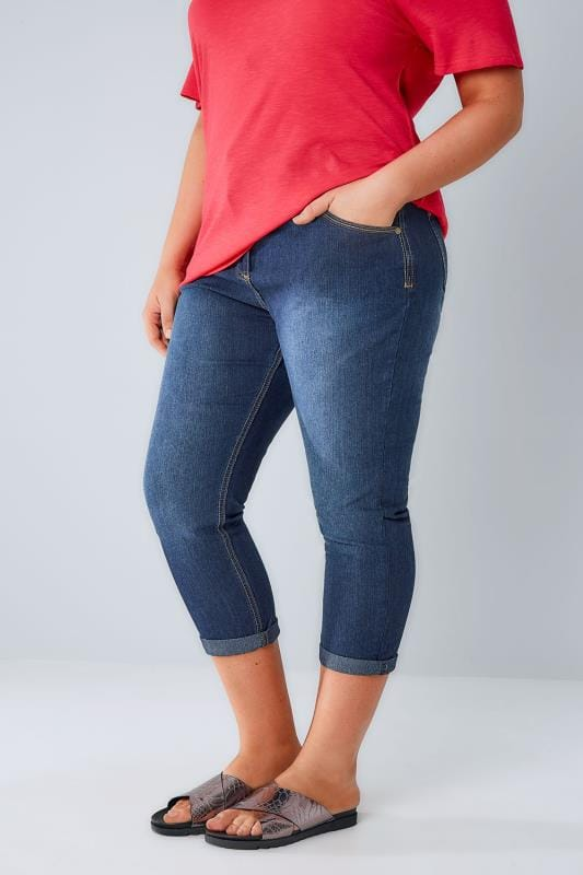 Plus Size Cropped Jeans Mid Blue Denim Cropped Jeans