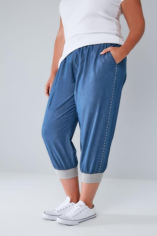 Grote maten 3/4 Jeans Mid Blue Denim Cropped Jogger Trousers With Stud Detail 144052