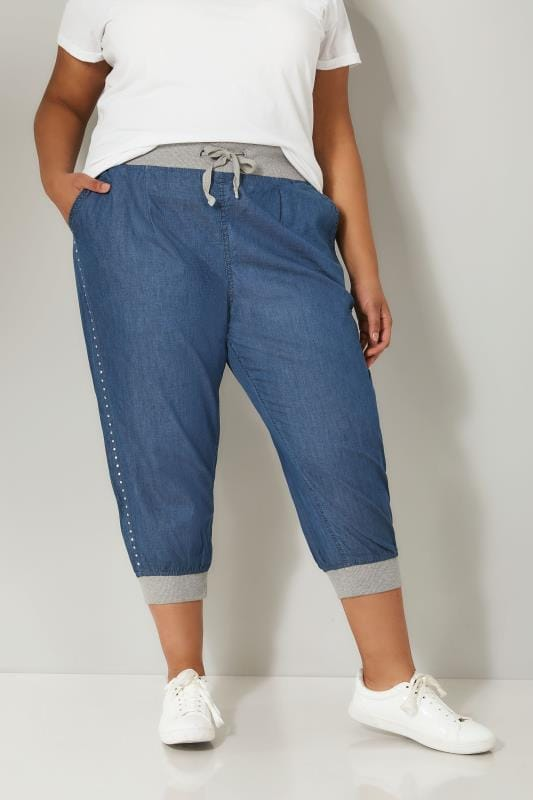 Mid Blue Denim Cropped Jogger Trousers With Stud Detail