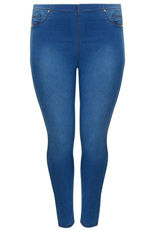 Buy Here Pay Here Ct >> Mid Blue Pull On Stretch SHAPER Jeggings, Plus size 16 to 32