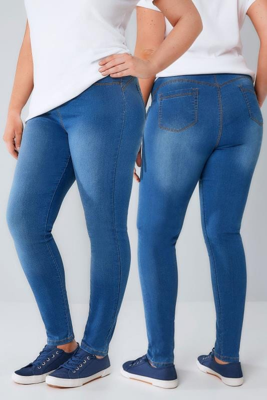 Mid Blue Pull On Stretch SHAPER Jeggings