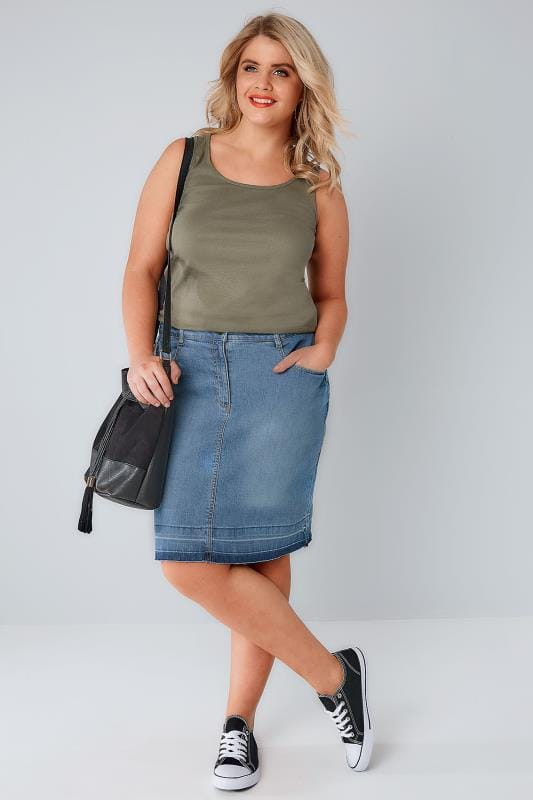 Mid Blue Faded 5 Pocket Denim Skirt With Raw Hem