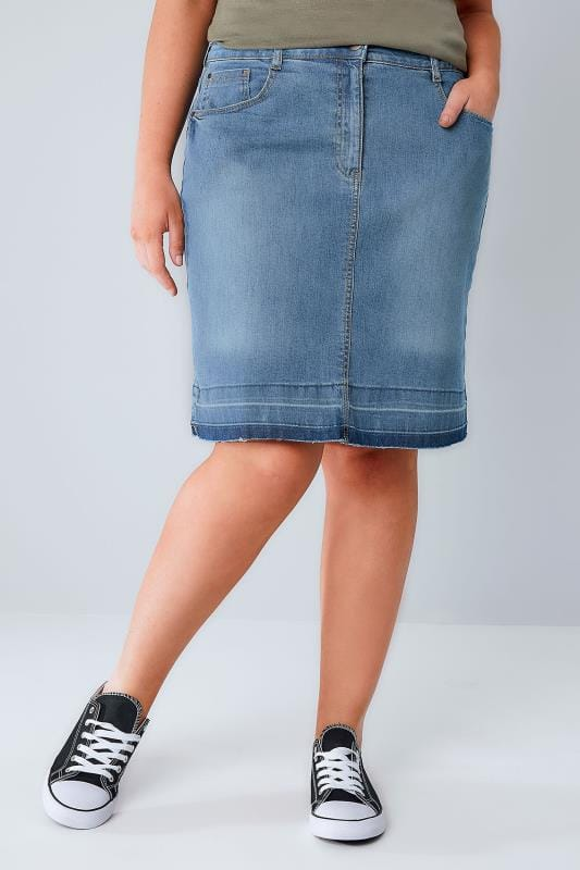 Denim Skirts Mid Blue Faded 5 Pocket Denim Skirt With Raw Hem 160013
