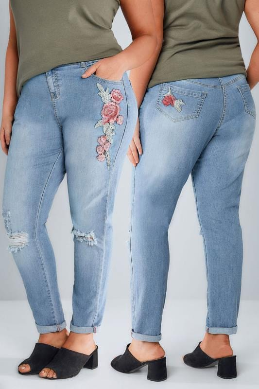 Plus Size Boyfriend Jeans Mid Blue Floral Embroidered Ripped Boyfriend BROOKLYN Jeans