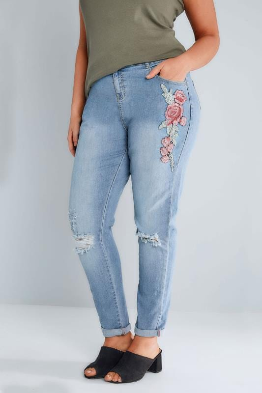 Mid Blue Floral Embroidered Ripped Boyfriend Jeans plus size 16 to 32