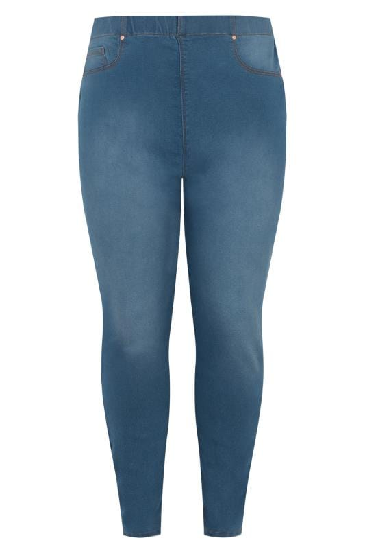 7f20e345eb3 Plus Size Jeggings Mid Blue Pull On LOLA Jeggings