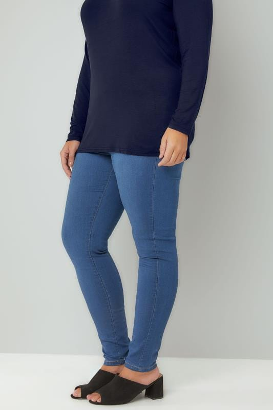 Plus Size Jeggings Mid Blue Pull On Super Stretch SHAPER JENNY Jeggings