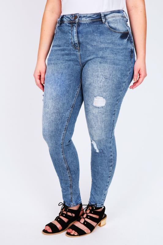 Mid Blue Rip Detail Skinny Jeans