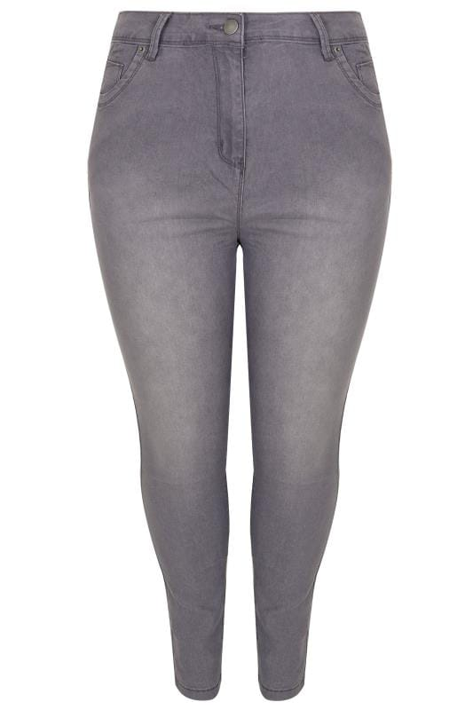 Mid Grey Skinny Ava Jeans Plus Size 16 To 32