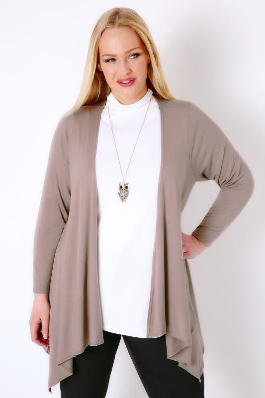 Mink Edge To Edge Waterfall Jersey Cardigan