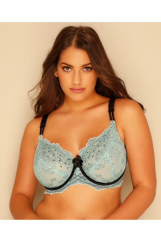 Mint & Black Non-Padded Underwired Bra With Pencil Lace Detail