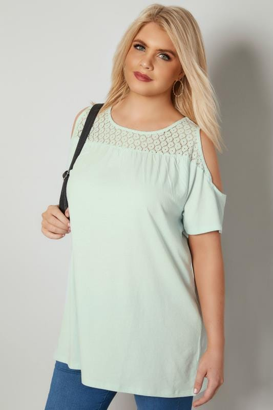 Plus Size Jersey Tops Mint Green Cold Shoulder Lace Yoke Top