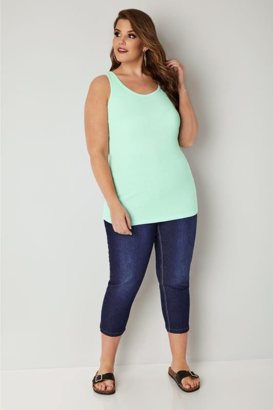 Mint Green Cotton Vest Top