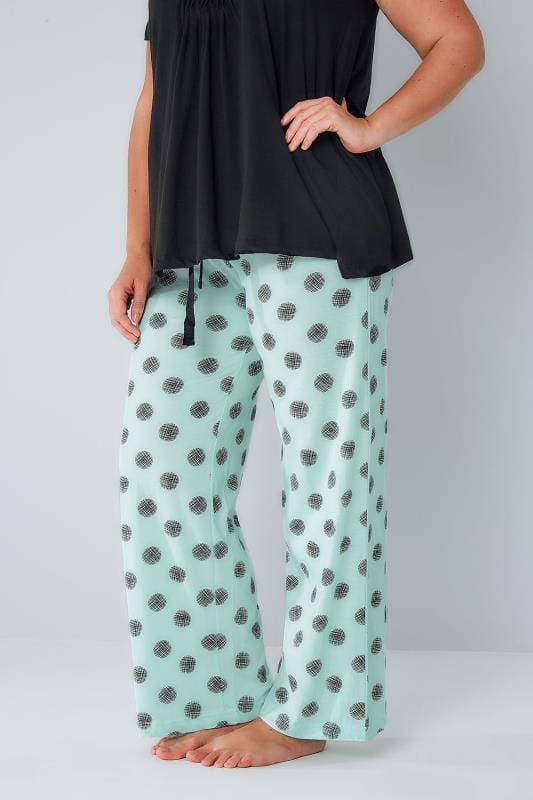 Mint Green Cross Hatch Spot Print Pyjama Bottoms