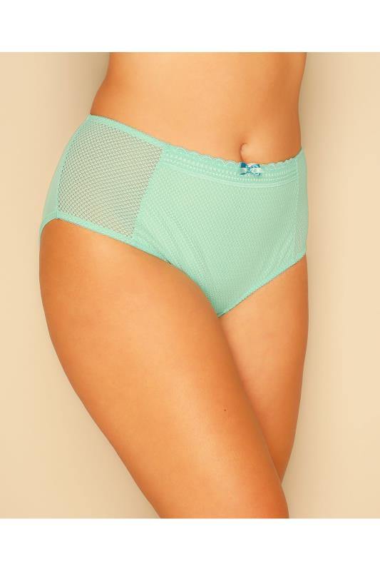 Mint Green Diamond Mesh & Lace Trim Briefs